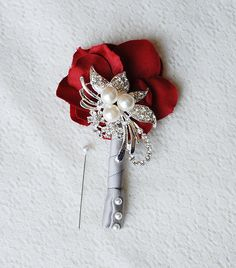 crystal boutonniere | Hydrangea Boutonniere Corsages - Pearl Rhinestone Crystal - Silver Red ...