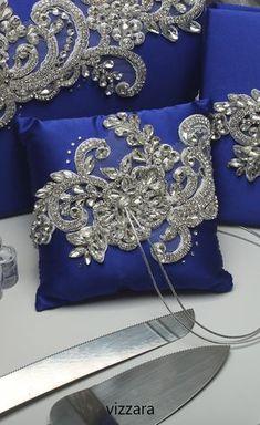 Ring Bearer Pillows, Ring Pillows, Ring Pillow Wedding, Wedding Pillows, Royal Blue And Gold, Blue And Silver, Designer Bed Sheets, Smocking Tutorial, Wedding Glasses