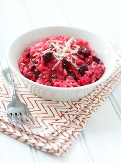 roasted beet risotto (I'm trying to recreate the heavenly one we recently had at the Simon Pearce restaurant in Quechee, Vermont, which was topped with locally produced chevre and a few greens)