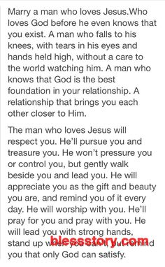 Marry a man who loves Jesus. - Jesus Quote - Christian Quote - Marry a man who loves Jesus. The post Marry a man who loves Jesus. appeared first on Gag Dad. The Words, Dear Future Husband, Future Boyfriend, Future Husband Quotes, Dear Boyfriend, Future Wife, Boyfriend Goals, Trust God, Christian Quotes
