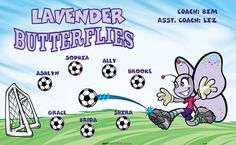 Butterflies-Lavender-42489 digitally printed vinyl soccer sports team banner. Made in the USA and shipped fast by BannersUSA. www.bannersusa.com