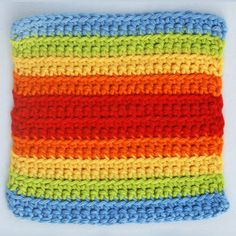 Double Rainbow Crocheted Square -- Easy Crochet Project Made Using Scrap Yarn and Front Loop Single Crochet Stitch
