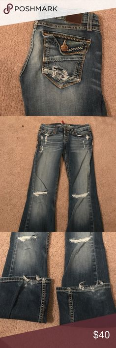 BKE Flare Jeans BKE flare jeans, size 25 waist by 31.5 length. Slightly worn. Destruction through the legs was made that way but is frayed on the bottom. Super cute and still wear very well! BKE Jeans Flare & Wide Leg