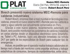 Robert Bosch: Nuevo MEC-Remote en el diario Del País de Perú (09/11/16)