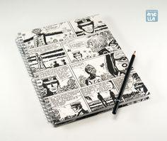 Libreta hecha a mano reciclando 4 páginas de un viejo cómic de «Corto Maltese».