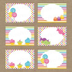 Sweet Shop Candy Land Printable Folding Buffet Cards by ThumbAlinaLane