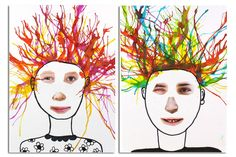 Portraits rigolos et colorés - Activités enfantines – 10doigts.fr Art Du Collage, Crafts For Kids, Arts And Crafts, Art School, Art Education, Portraits, Animation, Creative, Painting