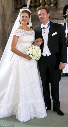 Sweden's Princess Madeleine chose a traditional silk organza gown by Valentino when she ma...