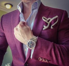 Burgundy Vino with Off White Signature Border Pocket Square Sharp Dressed Man, Well Dressed Men, Dress For Success, Suit And Tie, Gentleman Style, Stylish Men, Dress Codes, Swagg, Mens Suits