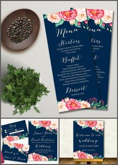 Printable Wedding Menu, Floral Wedding Menu Card, Pink and Navy Menu, Watercolor Peony Wedding Card, Navy and Pink wedding Decor. Matching signs, wedding invitation and other cards available at: tranquillina.etsy.com