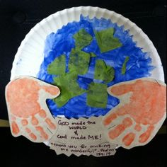 """Earth Day activities: Earth Day paper plate earth with keepsake hand prints. Use for an Earth Day theme (""""Touch the Earth Gently"""") Earth Day Crafts, World Crafts, Sunday School Lessons, Sunday School Crafts, Bible Activities, Preschool Activities, Kindergarten Worksheets, Sistema Solar, Bible For Kids"""
