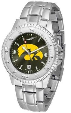 Iowa Hawkeyes men's stainless steel watch. College dress watch has a silver tone rotating bezel. The Competitor Steel utilizes an attractive and secure stainless steel band. Perfect for any occasion,