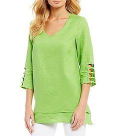 Ali Miles Linen Cutout Sleeve Tunic