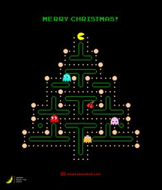 Pac-Man Christmas Wishes - not exactly sure how to make the card, but love the idea