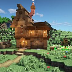 Here you can share your Minecraft builds and seek advice and feedback from like minded builders! Minecraft Wooden House, Minecraft Starter House, Casa Medieval Minecraft, Cute Minecraft Houses, Minecraft Farm, Minecraft Houses Survival, Minecraft Plans, Minecraft House Designs, Minecraft Construction