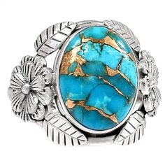 Copper Blue Turquoise Floral Silver Ring Jewelry s.8 SR193621   eBay