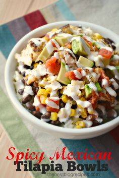 Looking for a new dinner recipe that your family will love? These Spicy Mexican Tilapia Bowls are so good that even non fish lovers will enjoy them!