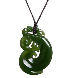 Large NZ Jade Traditional Maori Manaia Necklace : Mountain Jade New Zealand New Zealand, Washer Necklace, Jade, Mountain, Carving, Traditional, Christmas Ornaments, Holiday Decor, Jewelry