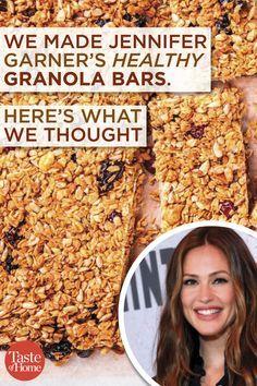 We Made Jennifer Garner's Healthy Granola Bar Recipe We Made Jennifer Garner's Healthy Granola Bars. Here's What We Thought Best Granola Bars, No Bake Granola Bars, Healthy Granola Bars, Healthy Bars, Healthy Snacks, Clean Granola Bars, Breakfast Bars Healthy, Healthy Mummy, Healthy Breakfasts