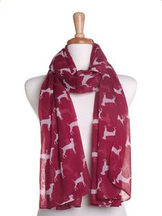 This scarf is a great accessory to add to your wardrobe, wear as a scarf around your neck with your favourite top or use as a wrap or cover up.  {{D E T A I L S}} ▶ Dark red scarf with adorable white dog print. ▶ 100% soft viscose. ▶ Length of scarf: 70 inches (180cm). ▶ Width of scarf: 38 inches (97cm).  {{C A R E}} Washing Instructions: Hand wash in cold water. Dry flat or line dry.  {{G I F T}} If your order is a gift and is being sent straight to the recipient, I would be very happy to…