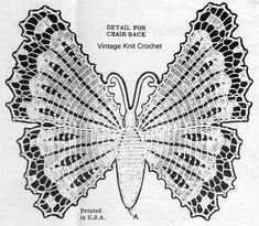 Vintage 1942 butterfly crochet pattern for chair or buffet set and runner. Crochet Butterfly Pattern, Peacock Pattern, Crochet Patterns, Buffet Set, Pineapple Crochet, Vintage Butterfly, Chair Backs, Butterfly Chair, Vintage Knitting