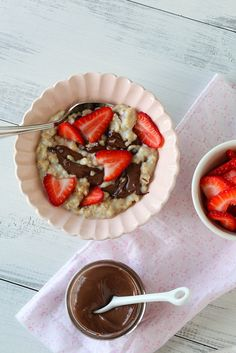 Strawberry nutella oatmeal.