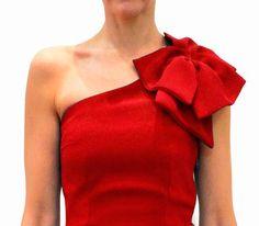 top rojo asimetrico con lazo al hombro de arimoka online