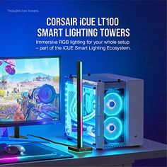 Corsair iCUE LT100 Smart Lighting Tower Starter Kit – Gameller   Gaming Gear Headset Holder, Starter Kit, Light Up, Diffuser, Backdrops, Gaming, Tower, Videogames, Rook