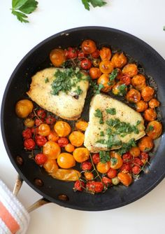 Slow Roasted Halibut with Burst Tomatoes and Gremolata.