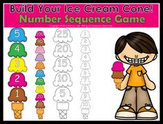 """(FREE product) Your students will practice number sequence by arranging numbers in ascending or descending order from 1-30, you can also count by 10's to 100. I included color and black and white versions.  My students love to play """"Who can build the biggest ice cream cone?"""" They don't get tired of playing this game! I know your students will enjoy it too!!"""