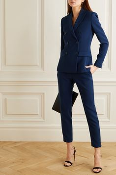 Navy cady Concealed hook, button and zip fastening at front triacetate, polyester; Business Casual Outfits, Professional Outfits, Business Attire, Office Outfits, Business Professional, Work Outfits, Office Wear, Outfit Work, Business Suits For Women