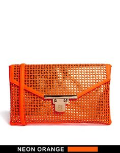 Bild 1 von River Island – Clutch in Orange mit Laserschnitten