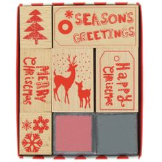 christmas stamp set with inks from Paperchase
