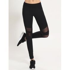 Style: Active Length: Ninth Material: Polyester,Spandex Fit Type: Skinny Waist Type: Mid Closure Type: Elastic Waist Pattern Type: Patchwork Pant Style: Pencil Pants Weight: Package: 1 x Leggings Running Leggings, Workout Leggings, Leggings Are Not Pants, Mesh Insert Leggings, White Leggings, Leggings Fashion, Fashion Pants, Women's Fashion, Shopping