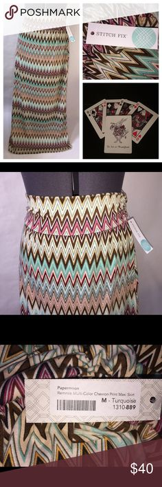 "NWT Papermoon Stitchfix Remmie Chevron Maxi skirt * Papermoon for Stitchfix  * New with tags  * Size - M  * Style- Maxi Skirt  * Details- rayon/spandex blend with gathering at waistband  * Measurements unstretched - waistband: 13 1/2"", total length: 39 1/4"". Papermoon Skirts Maxi"