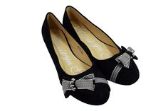 Rockabilly Pinup little Bow and Dazzling Beads Accent Black Ballet Flats Shoes