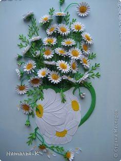 Картина, рисунок, панно Бумагопластика, Квиллинг: Букет ромашек. Бумага, Картон. Фото 3