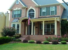 partial front porch brick traditional - Google Search