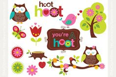Clipart - Owls in Spring by MyClipArtStore on Creative Market