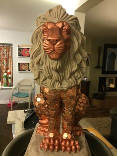 A close up of the Lion Statue water fountain for our Class Auction Item.