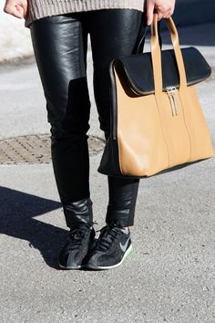 Outfit :: Winter Puffer - Leather Pants, 31 hour bag, nike sneakers, casual outfit