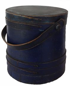 RM259 Early 19th century New England blue painted wooden Firkin,(old indigo blue paint ) the