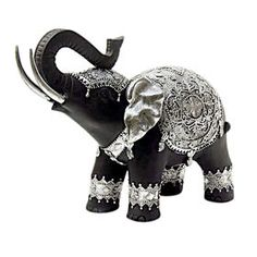 Picture of Black & Silver Elephant Figurine