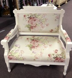 Annie Sloan roses fabric and old white Chalk Paint® on Loveseat by Le Jardin in Edinboro Pa.
