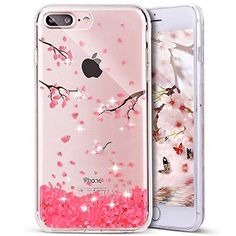 iPhone 7 Plus Case PHEZEN iPhone 7 Plus TPU Case Luxury Bling Diamond Crystal Clear Soft TPU Silicone Back Cover with Cute Pattern for 5.5 inch iPhone 7 Plus Cherry blossoms
