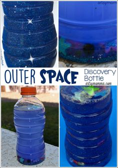 Outer Space Discovery Bottle is part of Preschool crafts Space - Make a mesmerizing outer space discovery bottle! This fun sensory activity is great for a preschool outer space theme Space Theme Preschool, Space Activities, Preschool Science, Preschool Crafts, Activities For Kids, Sensory Activities, Sensory Rooms, Planets Preschool, Science Fun