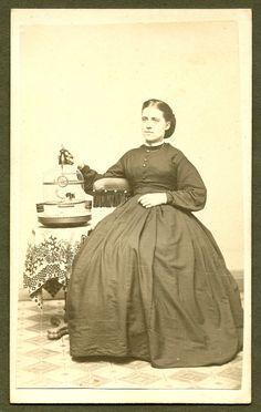 Woman with Bird in Birdcage Civil War Era CDV