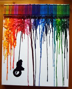 CRAYON ART - Made this with myseven year old. She picked the girl on the tire swing to finish the piece. (I recommend not using canvas next time. The melted crayon drips don't always stick to the canvas and are very fragile. Diy Crafts To Do, Baby Crafts, Crafts For Kids, Arts And Crafts, Crayon Art, Crayon Ideas, Projects For Kids, Craft Projects, Drip Art