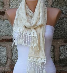 Light Yellow Scarf   Cowl with Lace Edge Butterfly by fatwoman, $19.90