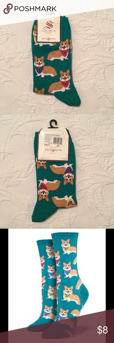 Corgi Socks New with tags. Show your love of the Pembroke Welsh Corgi with women's Corgi print crew socks, featuring cute graphic printed corgis on your choice of green or black socks. Constructed of nylon, cotton, and spandex for a soft, stretchy feel. Perfect for wearing with your favorite shoes or slippers! Color: Emerald. Socksmith Accessories Hosiery & Socks